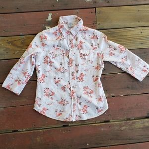 Gap floral cotton button up extra small